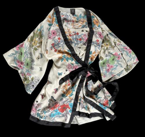 Oriental butterfly print kimono and slip